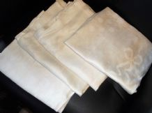 "4 x GENUINE VINTAGE TABLE PROTECTORS RUNNERS CREAMY SHEEN BOWS & DOTS 23"" X 40"""